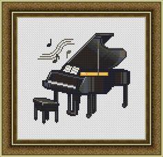 Black Piano Music Counted Cross Stitch Pattern 84 x 79