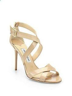 Jimmy Choo Lottie Patent Leather Crisscross Sandals