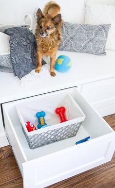Dogs and Decor - Pet Friendly Design — Farmhouse Living Farmhouse Dog Toys, Dog Toy Storage, Hidden Storage, Lego Table With Storage, Dog Room Decor, Dog Feeding Station, Living With Dogs, Closet Shoe Storage, Animal Room