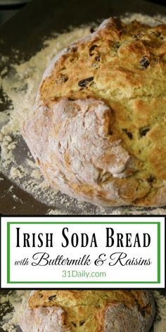 Irish Soda Bread with Buttermilk and Raisins is a favorite St. The buttermilk delivers a subtle tang that is absolutely delicious. Traditional Irish Soda Bread, Irish Bread, Ireland Food, Irish Recipes, Irish Desserts, Irish Soda Bread Recipes, Recipes With Buttermilk, Buttermilk Biscuits, Asian Desserts
