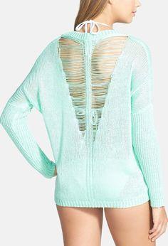 Elan V-Back Knit Cover-Up Sweater