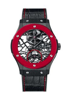 Classic Fusion Red 'n' Black Skeleton Tourbillon Complicated watch from Hublot