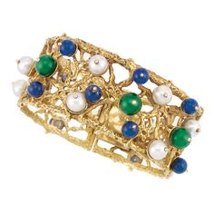Nugget Gold, Cultured Pearl, Nephrite and Lapis Bead Cuff Bangle Bracelet, Paul Flato