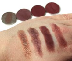 Swatches (left to right) of Makeup Geek Eyeshadows in: Havoc, Last Dance, Cherry Cola, and Bitten. Thanks to Laura Hitchens...click through to check out her blog!