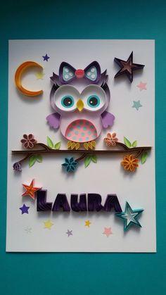 Quilling chouette prénom Laura