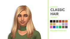 "greenllamas: "" CLASSIC HAIR - GREENLLAMAS So it's been a while since I put out some new cc but i'm back! This is an extensively edited version of the hair from cats & dogs and I am really happy with the result. DETAILS BELOW: • BASE GAME COMPATIBLE •..."