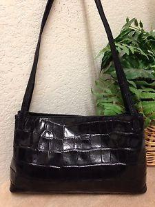 db853d22149 Monsac Original Black Croc Embossed Leather Shoulder Handbag Satchel Bag    eBay