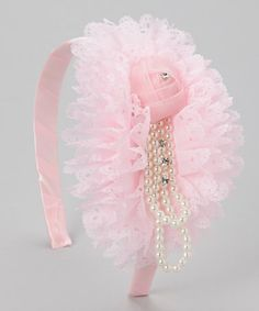 Take a look at this Pink Pearl Rosette Headband by Tutus by Tutu AND Lulu on #zulily today!