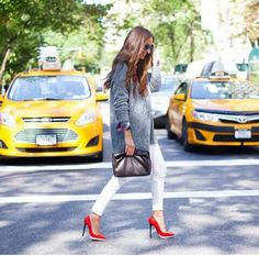 White skinnys and red pumps