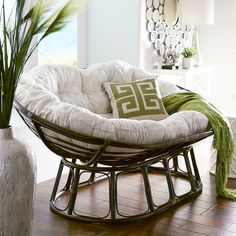 """Our Double Papasan Chair is durable, practical and downright comfortable for two. Plus, it's handcrafted of rattan woven by hand over a sturdy, rattan frame. All of which is just another way of saying, """"Ahhh. Dining Room Sets, Living Room Chairs, Double Papasan Chair, Papasan Cushion, Swivel Chair, Bedroom Chair, Bedroom Decor, Cozy Chair, Round Chair"""