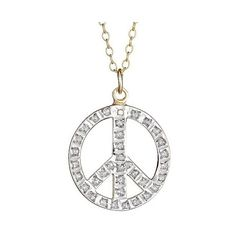 Sterling Silver Peace Pendant Necklace with Diamond Accents - Yellow ($30) ❤ liked on Polyvore featuring jewelry, necklaces, ylw, sterling silver necklaces, yellow bracelet, sterling silver fine jewelry, sterling silver bracelet et peace sign pendant necklace