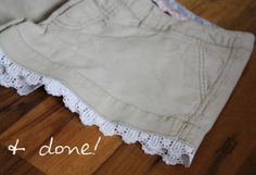 Monday DIY: Lace-trimmed shorts | Wow! Goodwill