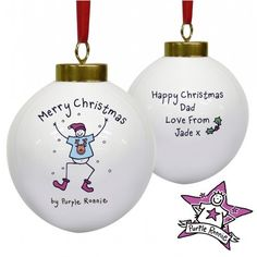 Personalised Purple Ronnie Christmas Bauble For Him  from Personalised Gifts Shop - ONLY £10.99