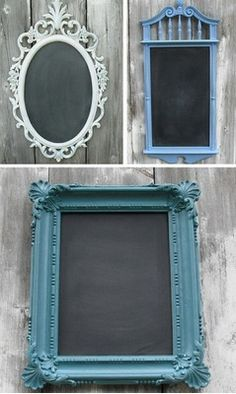 Turn Frames into Chalkboards  We love this inexpensive yet effective DIY project! By turning old frames from thrift shops or estate sales into colorful blackboards, you can use them to write up reminders or inspirational quotes.