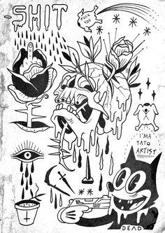 Really bad composition n 1 Art by Jimmy Kid - X-Petit - Really Bad Composition # 1 Art by Jimmy Kid – ideas tattoo - Flash Art Tattoos, Tattoo Flash Sheet, Kritzelei Tattoo, Grunge Tattoo, Doodle Tattoo, Tattoo Sketches, Tattoo Drawings, Art Sketches, Tattoo Outline Drawing