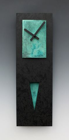 Verdigris Spike Pendulum Clock by Leonie Lacouette: Painted Clock available at www.artfulhome.com