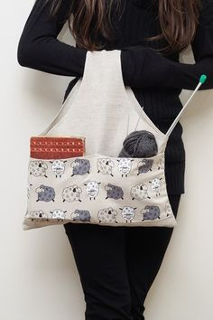 Knitter Project Bag SHEEPS Special KnitterBag design by KnitterBag, $16.99