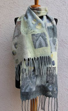 Nuno Felted scarf wool shawl felted shawl felt scarf wool Nuno Felt Scarf, Wool Scarf, Felted Scarf, Felted Slippers Pattern, Wet Felting Projects, Nuno Felting, Needle Felting, Felt Embroidery, Silk Wrap