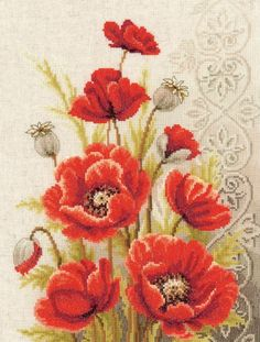 Vervaco Poppies and Swirls - Cross Stitch Kit. Cross Stitch Kits, Cross Stitch Designs, Cross Stitch Patterns, Cross Stitching, Cross Stitch Embroidery, Embroidery Patterns, Easy Flower Painting, Mexican Embroidery, Cross Stitch Landscape