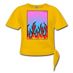 SICKIE THREADS   FLAMES N STUFF - Womens Knotted T-Shirt Tshirt Knot, T Shirt, Unique Outfits, Comfortable Fashion, Knots, Unisex, Mens Tops, Clothes, Style