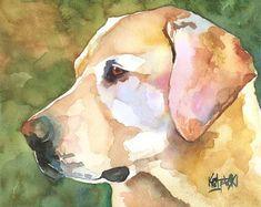 Labrador Retriever stampa artistica di Acquarello originale - 8x10 giallo Lab