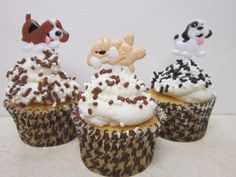 How adorable are these puppy cupcake toppers. The perfect was to decorate a cupcake! See more party ideas and share yours at CatchMyParty.com