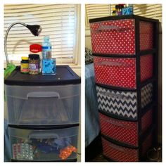 DIY dorm room makeover. use scrap fabric and mod podge to turn clear storage bins into cute decorative bins