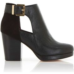 Miss Selfridge ARIA Cutout Ankle Boots ($35) ❤ liked on Polyvore featuring shoes, boots, ankle booties, black, black ankle booties, black cut-out booties, black bootie, bootie boots and black boots