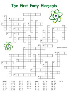 Crossword puzzle with the first forty elements. The clues are the symbols. Good perhaps for a chemistry class.