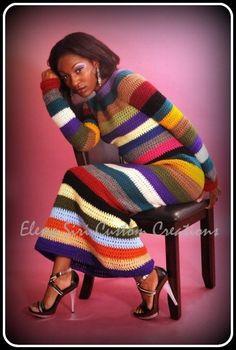 Платье в полоску Irish Crochet, Crochet Yarn, Crochet Stitches, Knitting Designs, Crochet Designs, Crochet Patterns, Vintage Crochet Dresses, Warm Outfits, Crochet Fashion