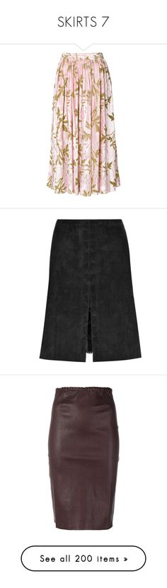 """SKIRTS 7"" by noconfessions ❤ liked on Polyvore featuring skirts, pink, pink skirt, pink midi skirt, calf length skirts, print skirt, patterned midi skirt, black, stouls and suede skirt"