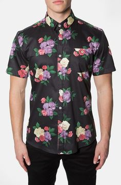 7 Diamonds 'Wallflower' Trim Fit Short Sleeve Floral Print Woven Shirt available at #Nordstrom