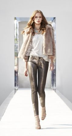 sleek, luxurious casual natural hues....not fan of that particular fur jacket though