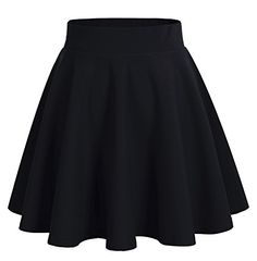 Bridesmay Women's Basic High Waist Casual Mini Skirt Versatile Stretchy Flared Skater Skirt Black S Edgy Outfits, Mode Outfits, Retro Outfits, Cute Casual Outfits, Skirt Outfits, Casual Dresses, Girls Fashion Clothes, Teen Fashion Outfits, Girl Fashion