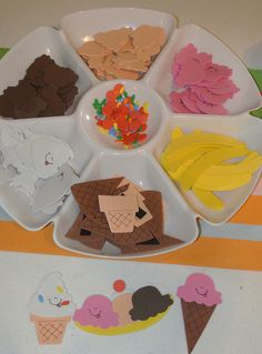 cute craft idea - they can make cones or sundaes or banana splits! Find a book to accompany? To match the erasers?