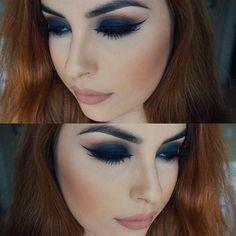 Navy Lids, Nude Lips by @comeoncloserxoxo I #pampadour #motd #anastasia #makeup #beauty #navyeyes #eyes #eyeshadow #smokey #nudelip #lips