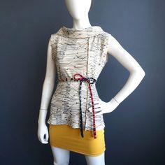 Like a Melody – iheartfink Womens Handmade Shirt Hand Printed Sleeveless Cowl Top