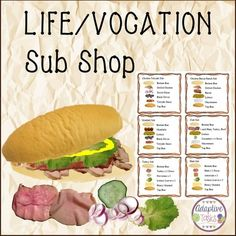 "LIFE SKILL/VOCATIONAL TASK   Sub Shop is a task to learn how to make sub sandwiches according to customer orders or to make at home.  This task includes ingredients to make 7 different sub sandwiches along with order card visuals for step-by-step sandwich making and an ingredient list. All sandwich ingredients are real photo visuals to make more of a real sandwich making experience. This task is part of my <strong><a href=""http://www.teacherspayteachers.com&#..."