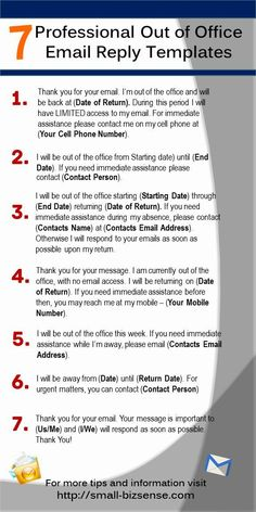 Here are 7 Professional Out of Office Email Reply Templates that you can use - Email Marketing - Start your email marketing Now. - Here are 7 Professional Out of Office Email Reply Templates that you can use Out Of Office Email, Out Of Office Message, Out Of Office Reply, Out Of Office Template, Office Templates, Out Of Office Sign, Marketing Online, Digital Marketing, Marketing Ideas