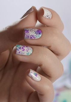 Try This Amazing Violet And Blue Watercolor Nail Art Design