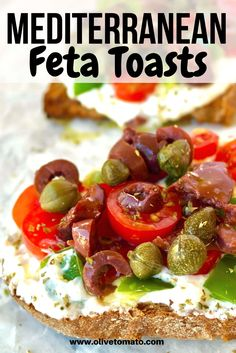 This delicious Mediterranean toast is topped with refreshing and tangy whipped feta, cherry tomatoes, bell pepper, kalamata olives and drizzled with extra virgin olive oil. #toast #mediterranean #feta #bruschetta #diet #tomatoes #appetizer Mediterranean Dishes, Mediterranean Diet Recipes, Bbq Menu, Whipped Feta, Greek Cooking, Healthy Low Carb Recipes, Appetisers, Greek Recipes, Love Food