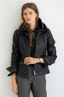 Black Faux Fur Collar Western PU Jacket
