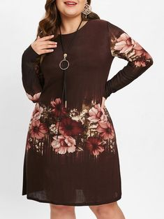 2c02160389 Floral Print Plus Size Knee Length Shift Dress. Women Clothing Online