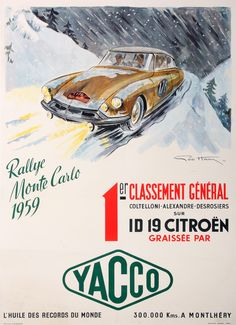 """Vintage poster """" Yacco Rallye Monte Carlo 1959 (…) ID 19 Citroën """" - Affiches Marci Paris Bruxelles Order this poster on our website!"""