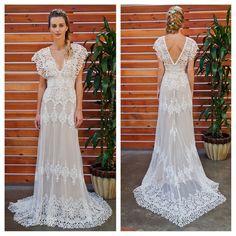 New wedding boho dress lace Ideas Boho Beach Wedding, Bohemian Wedding Dresses, Best Wedding Dresses, Lace Weddings, Boho Dress, Wedding Gowns, Lace Dress, Trendy Wedding, Wedding Lace
