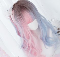 Gradient Color Long Curly Wig With Bangs