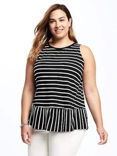 Relaxed Plus-Size Peplum-Hem Top