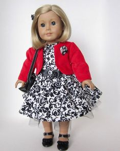 American Girl Doll: Black and White Dress With Red Velveteen