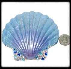 One-of-a-Kind Hand Painted Xtra Lrg Scalloped Shell/beach wedding/nautical beach decor/shell craft supplies/seashell decor/large shells/gift