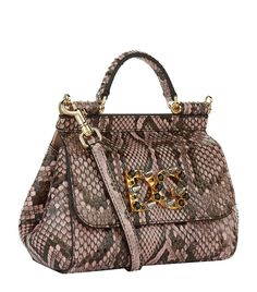 3302d674fcae Accessories  Top Handle Bags Dolce   Gabbana Small Sicily Python Studded  Top Handle Bag